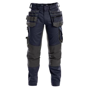 DASSY Flux (200975) Work trousers with stretch, multi-pockets and knee pockets, Navy/Grey