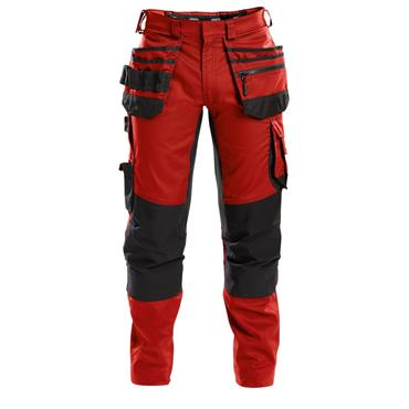 DASSY Flux (200975) Work trousers with stretch, multi-pockets and knee pockets, Red/Black