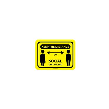 Social Distancing Floor & Wall Sign - Keep the distance 2m yellow