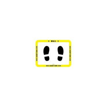 Social Distancing Floor & Wall Sign - Caution w/ stand image Yellow/White
