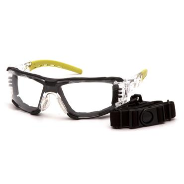Pyramex Fyxate Foam Padded Safety Glasses, Clear H2MAX Lens
