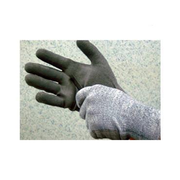TEKNI Cut Level 3 Resistant Glove, Grey w/ Black PU Palm Coating