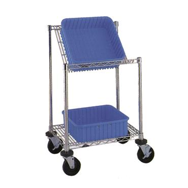 Chrome Wire Slanted Shelf Cart