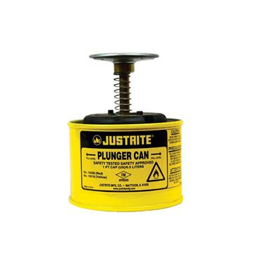 Justrite Steel Safety Plunger Can, Yellow