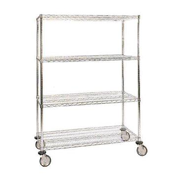 Chrome ESD Wire Cart 4-Shelf with Conductive Castors