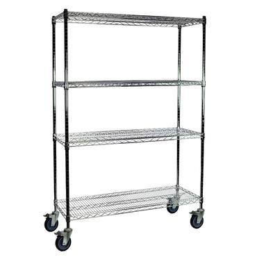 "Chrome Wire 4 Shelf Cart, 79"" High"