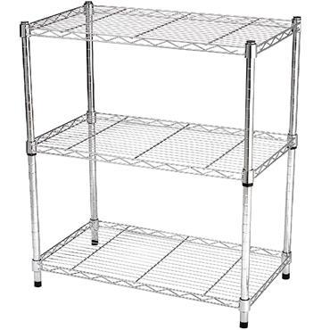 "Heavy Duty Steel Chrome Wire Rack, 3 Shelf, 54"" High"