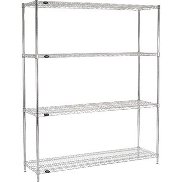 "Steel Chrome Wire Rack, 4-Shelf, 54"" High"