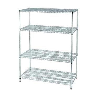 Chrome ESD Wire Rack 4-Shelf with Feet