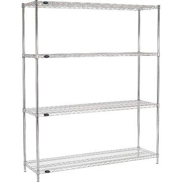 "Heavy Duty Steel Chrome Wire Rack, 4-Shelf, 63"" High"