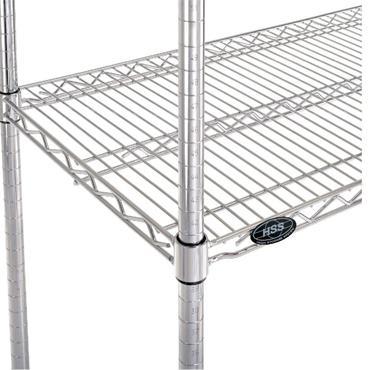 "Steel Chrome Wire Rack, 4 Shelf, 74"" High"