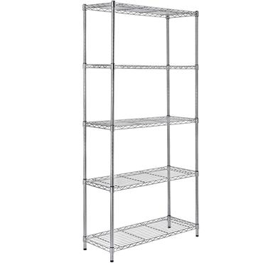 "Heavy Duty Steel Chrome Wire Rack, 5 Shelf, 74"" High"