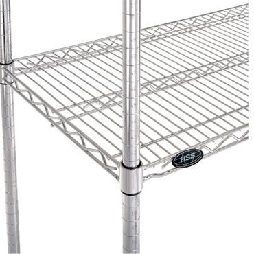 "Chrome Wire 4 Shelf Cart, 59"" High"