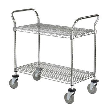 Chrome Wire 2 Shelf Utility Cart