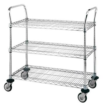 Chrome Wire 3 Shelf Utility Cart