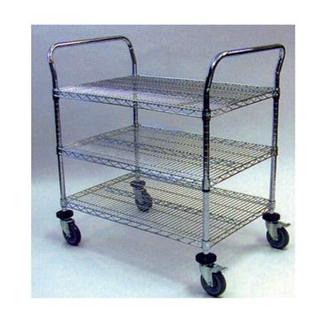 ESD 3 Shelf Utility Cart, Chrome
