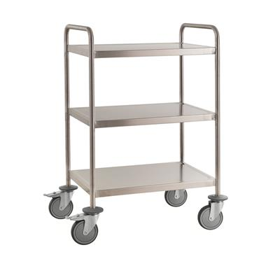 Kongamek Welded Stainless Steel Trolley, Class C3, 3 Shelves