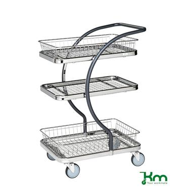 Kongamek, KM96302 C-Line Trolley, 2 Baskets + 1 Wire Shelf