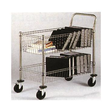 Chrome Wire Mail Cart 2 Basket