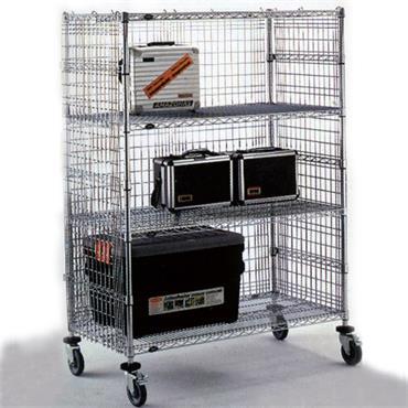 Chrome Wire Enclosure Cart w/ 2-Intermediate Shelves