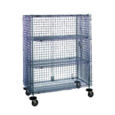 """Chrome Wire Mobile Security Cage with 2-Intermediate Shelves 68"""" High"""