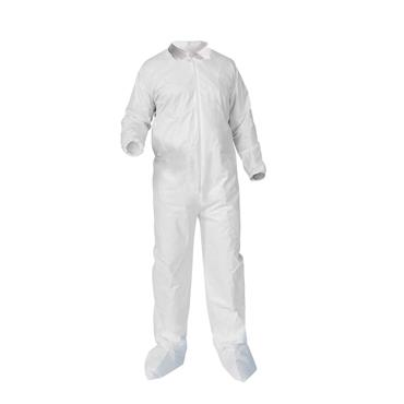 Heavy Duty Disposable Coverall w/ Boots and Elastic Cuffs & Back Waist