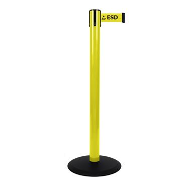 """ESD Stanchion Belt Barrier """"ESD Proected Area"""""""