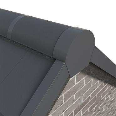 Tile Dry Verge Apex Unit Half Round Alu. Black