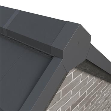 Tile Dry Verge Apex Unit Angled Alu. (90 deg) Blue/ Black