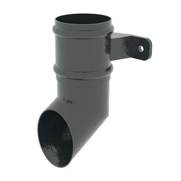 Round Aluminium Downpipe Shoe with Socket & Lug 100mm RAL Textured Black