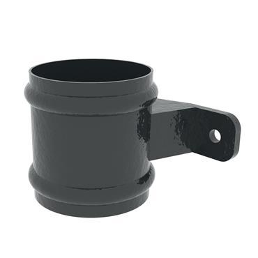 Round Aluminium Downpipe Socket & Lug 100mm RAL Textured Black