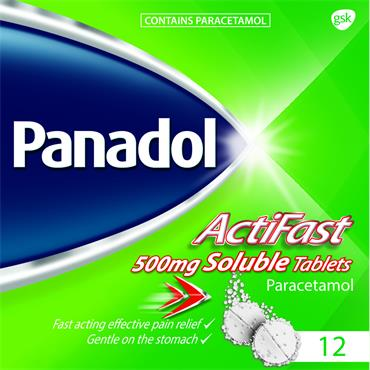 Panadol ActiFast 500mg Soluble Tablets 12
