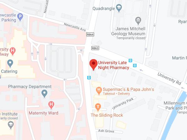 University Late Night Pharmacy Galway location map
