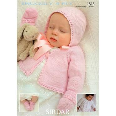 Sirdar #1818 Cardigans, Bonnet, Mittens & Bootees in 4 Ply
