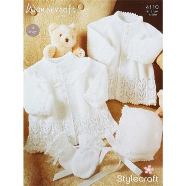 Stylecraft #4110 Knit Pattern - Christening Outfit in 3ply
