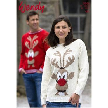Wendy #5594 Adults Rudolph Christmas pattern in DK