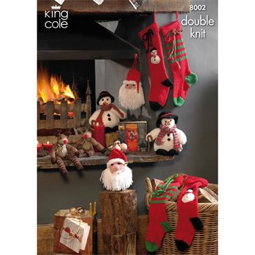 King Cole #8002 Christmas stockings and toys pattern in DK