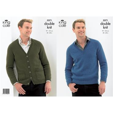 King Cole knit pattern #3271 men's DK