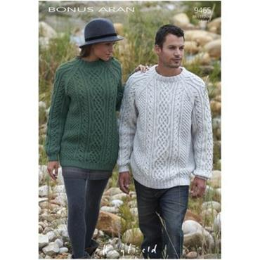 Sirdar knit pattern #9465 Aran Sweater