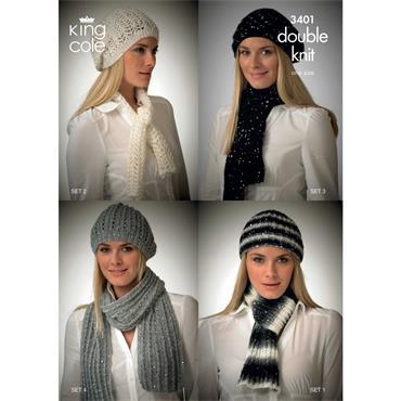 King Cole pattern #3401 DK hats & scarves