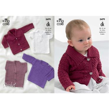 King Cole #3479 Baby Crochet Jacket, etc. in DK   disc