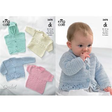 King Cole #3478 Baby Crochet Cardigan, Sweaters, etc. in DK