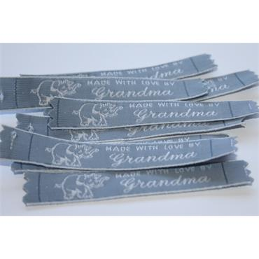 4 x Made With Love By Grandma labels (NAVY BLUE)