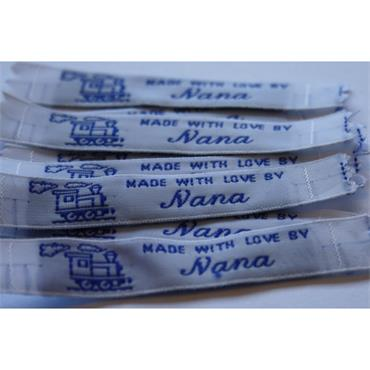 4 x Made With Love By Nana labels (Blue)