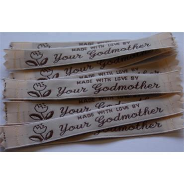 4 x Made With Love By Your Godmother labels