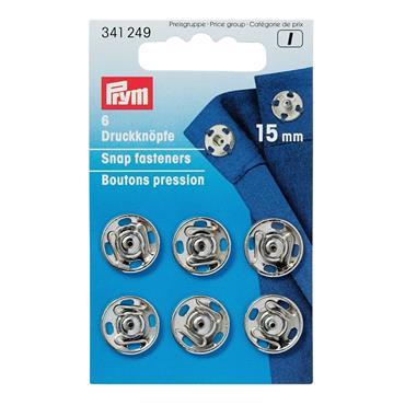 6 x Prym Snap Fasteners (Silver) - 15mm (341249)  ***