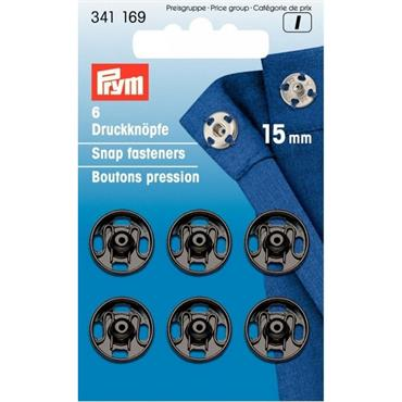 Prym Snap Fasteners - 15mm Black x6