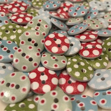 Pack of 10 x Assorted Colours Polka Dot Button (15mm) size 26