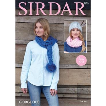 Sirdar Pattern #8095 Snood, Hat & Scarf in Gorgeous