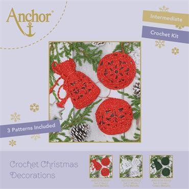 Anchor Crochet Christmas Decorations -  Red / Gold Metallic